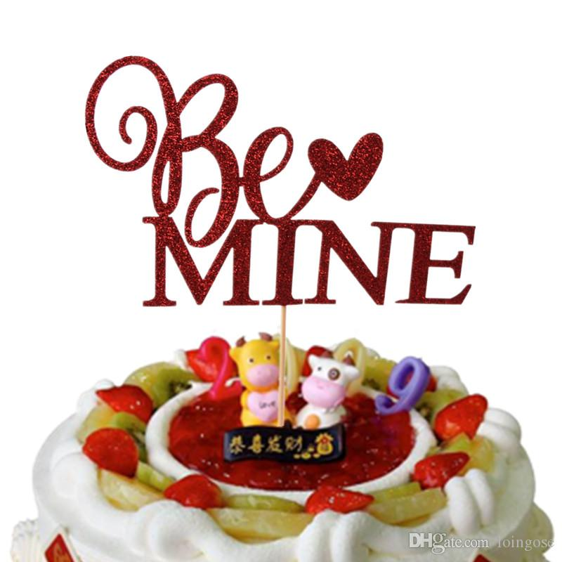 Compre Be Mine Cupcake Topper Red Cake Flags Paja De Papel Para La