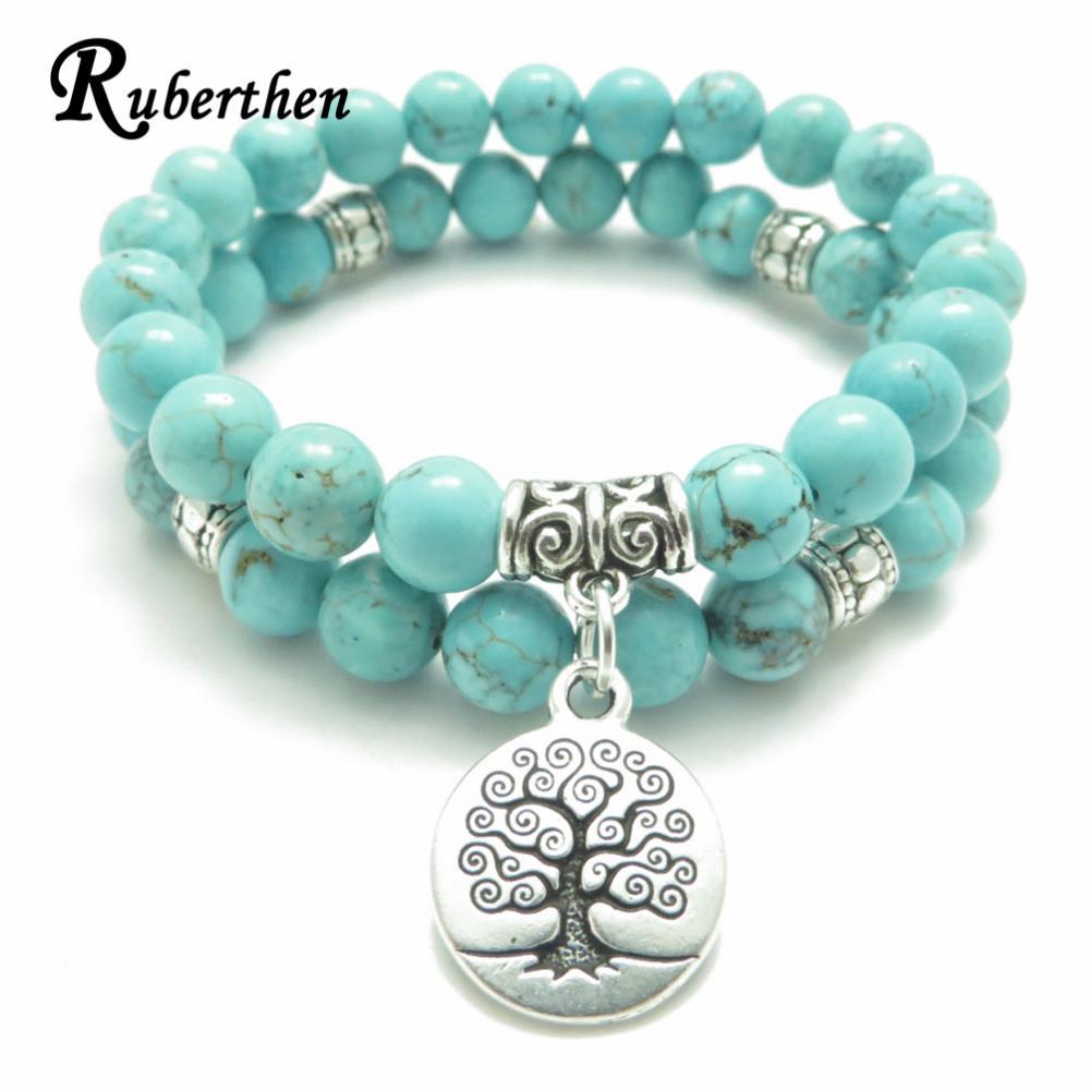 Ruberthen árvore da vida jóias yoga mala pulseira de pedra cura proteção elástico frisado empilhamento pulseira jóias espirituais s915