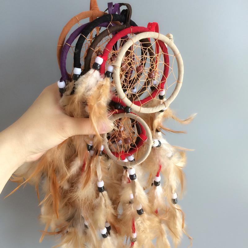 Anillos dobles hechos a mano atrapasueños hogar colgando atrapasueños decoración 6 colores artesanías mixtas hechas a mano whosale