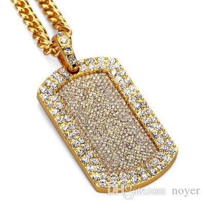 Mens hip hop jewelry crystal blingbling Army card pendants European and American style rhinestone hiphop chain necklaces accessorie