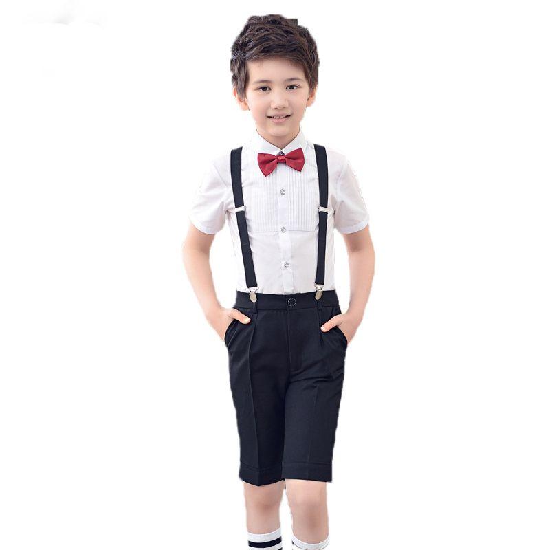Boys Wedding Overall Suits with Bowtie Brand School Girls Uniform Bib Pants Suit Flower Boys Girls Skirt Clothing Set N80