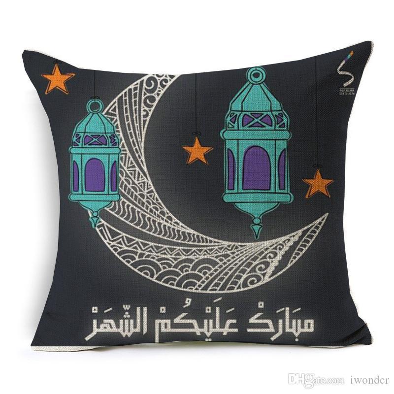 Mübarek Ramazan Yastık Kapak EID Mandala Yastık İslam Çiçek İnce Keten Pamuk Yatak Odası Koltuk Dekorasyon Kapaklar