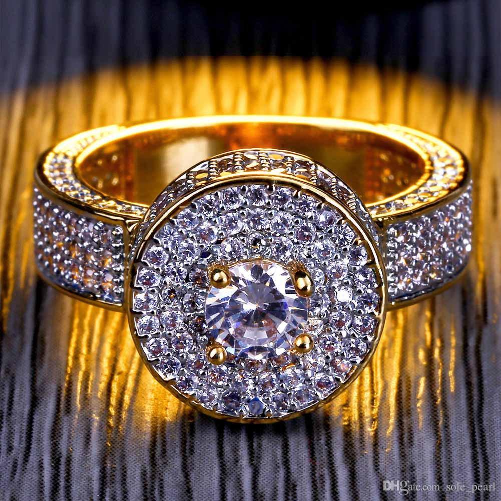 мужские кольца старинные хип-хоп ювелирные изделия рубин циркон ледяной из меди кольцо роскошные реальные 18k позолоченные для любовника ювелирные изделия оптом