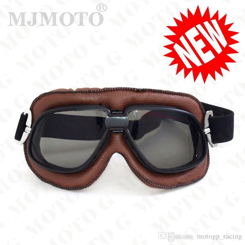 MJMOTO motorcycle helmet goggles leather unisex man vintage pilot biker motocross motorbike off road ATV skiing goggle motocyklowe glasses