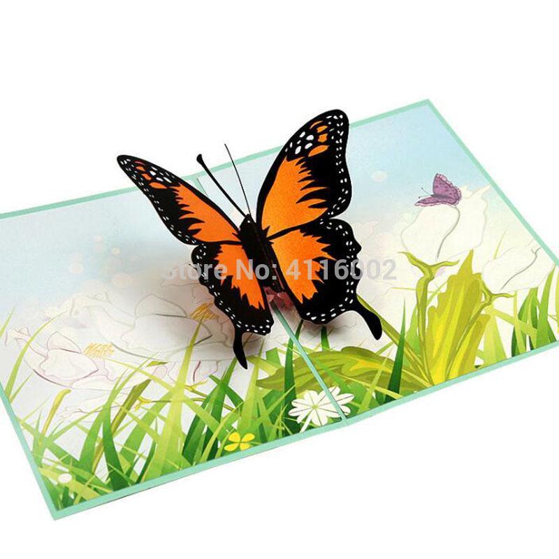 150pcs tarjetas de felicitación de la mariposa de cumpleaños hechos a mano invitación de boda 3D Pop Up tarjeta