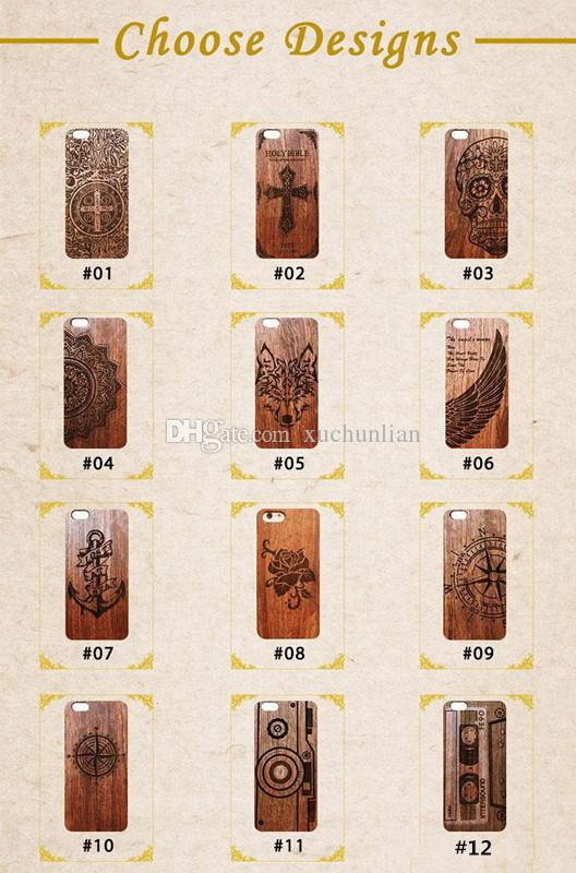 For iPhone X Bamboo Custom Design Case Wood Shockproof Case For iphone 6 7 For Samsung Galaxy S8 S9 DHL