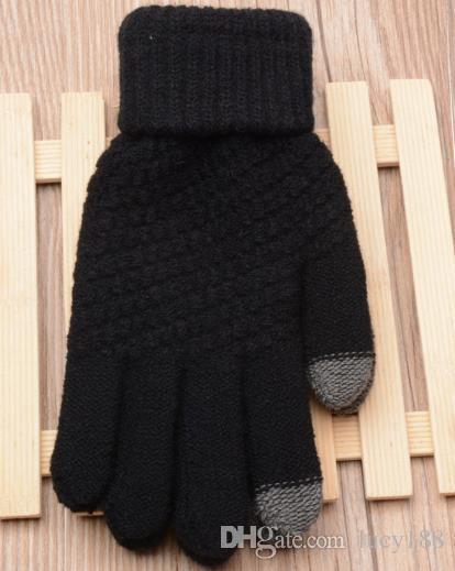 Ms luvas da menina do sexo masculino novo criativo imitação de cashmere tricô jacquard touch screen saver luvas de inverno quente moda