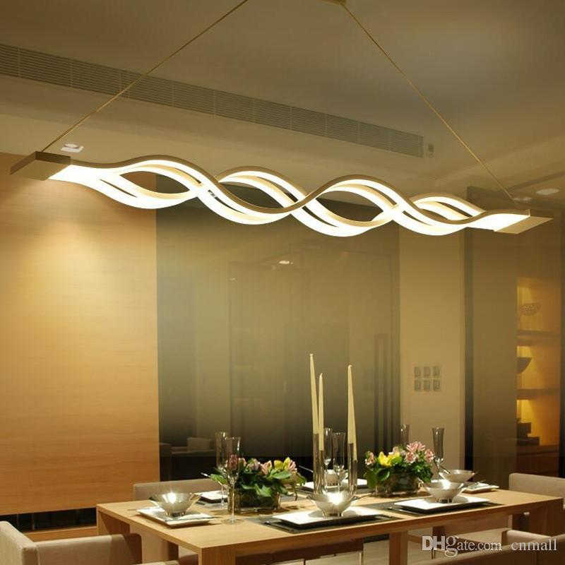 modern minimalist led chandeliers wave pendant light 40W/80W led suspending lamp fixture Dining room Living room hanging light metal+Acrylic