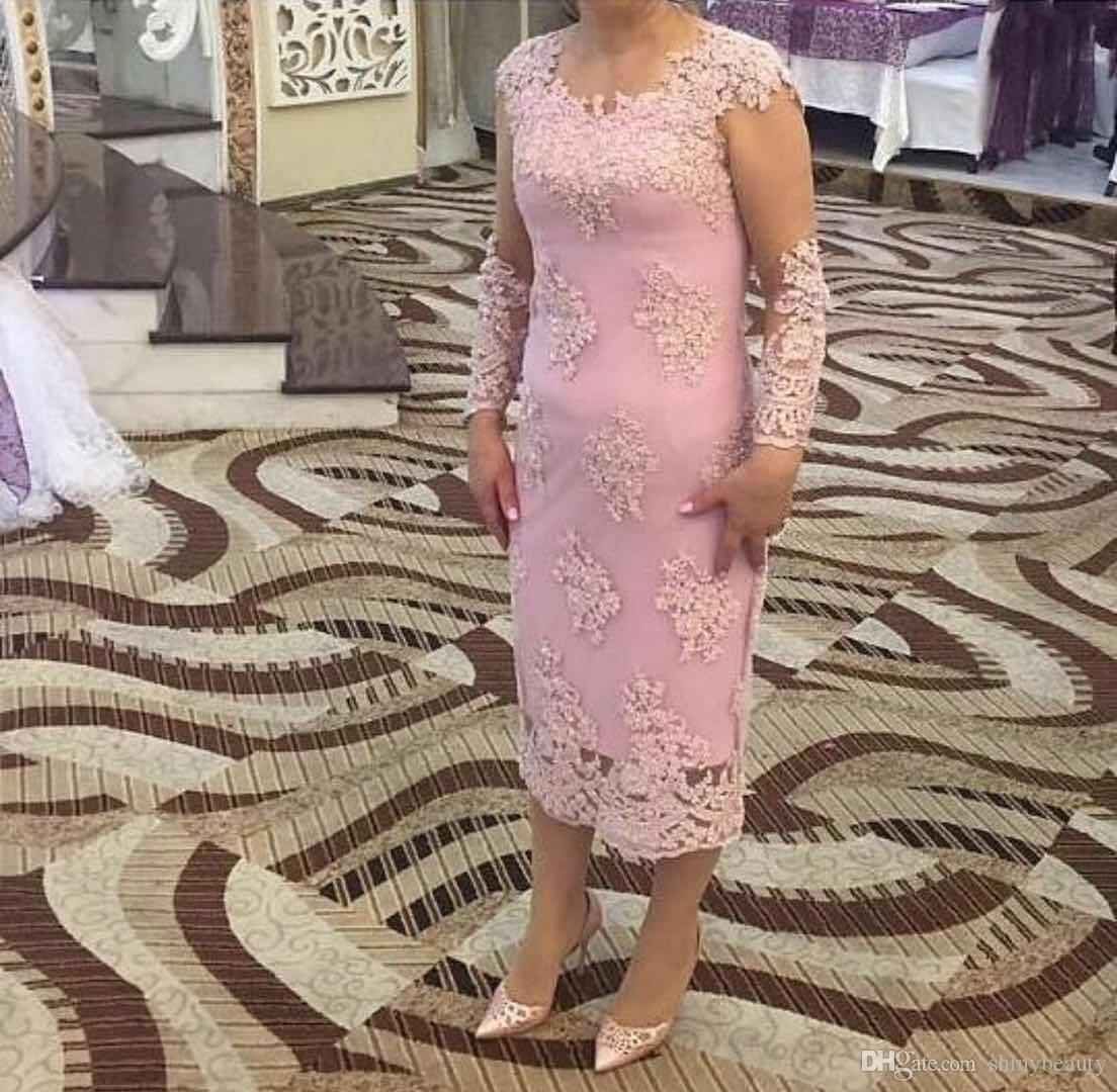Jewel Long Sleeves Sheath Appliques Tea Length Column Simple Elegant Wedding Dresses Mother Of Bride Dresses
