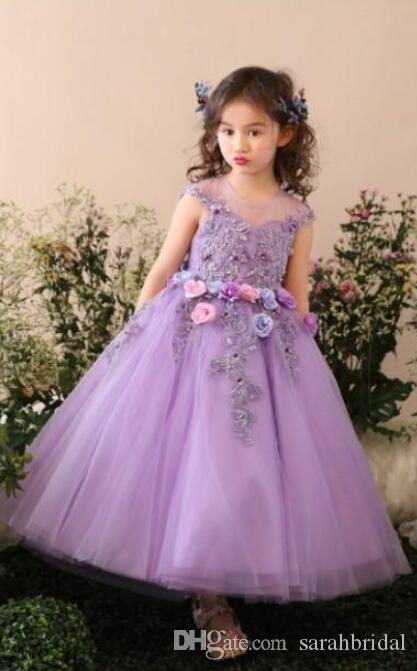 affascinante viola Flower Girl Dresses Tulle ragazze ball gown sheer cinghie senza maniche in pizzo Applique Pageant Gowns