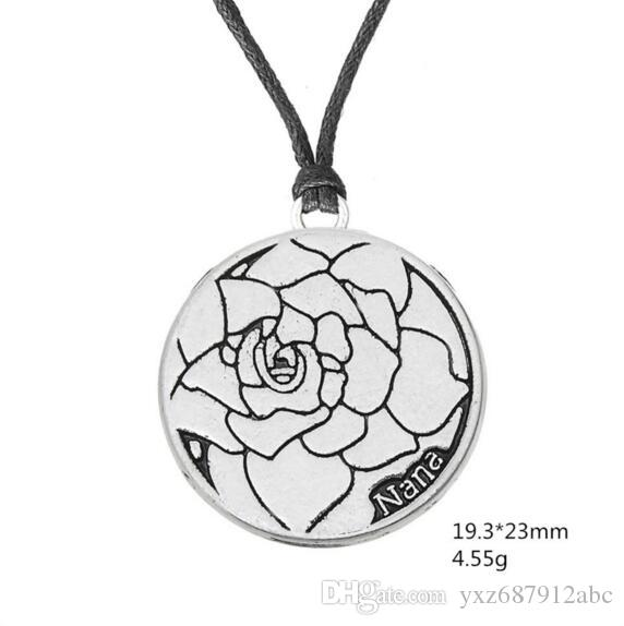 Women Men Pendant Necklace Rose Pattern In Round Charm Nana Written Rope Chain Personality Zinc Alloy Provide Dropshipping
