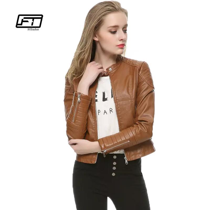 Fitaylor Femmes Automne Hiver Pu Cuir Veste De Mode Casual Punk Rétro Court Design Moto Manteau Noir Faux Cuir Veste