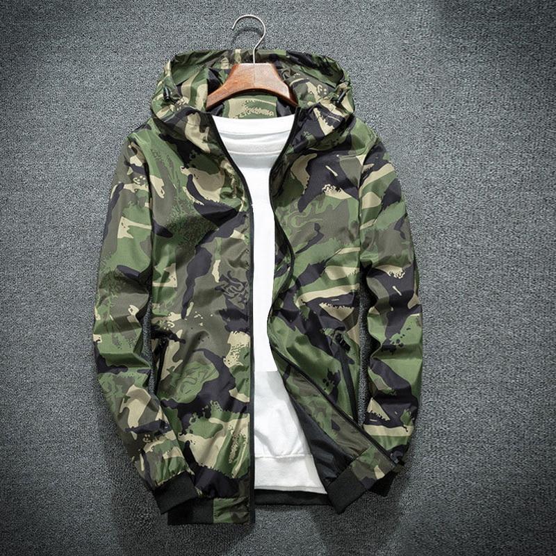 NIBESSER 2018 камуфляж куртка мужчины плюс размер камуфляж с капюшоном ветровка Куртки пальто армия куртка мода уличная