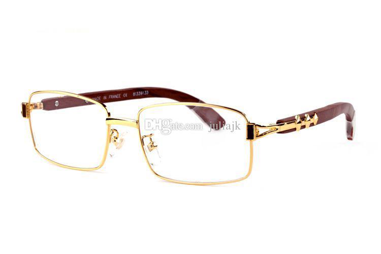 New Full Frame Glasses Wooden Buffalo Horn Glasses Optical Frames Sunglasses Women Silver Gold Wood Glasses Carving Eyewear Frames With box