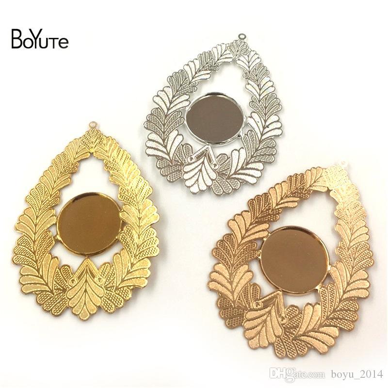 BoyuTe 10 pcs inner 18mm cabochon base bandeja em branco de prata de ouro diy pingente encantos para fazer jóias
