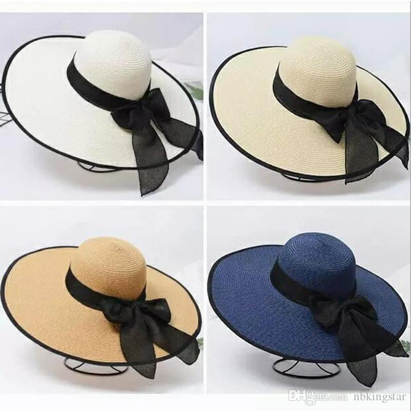 Summer Casual Wide Brim Straw Hat For Women Sun Cap With Bow Ladies Vacation Beach Hats Big Visor Floppy