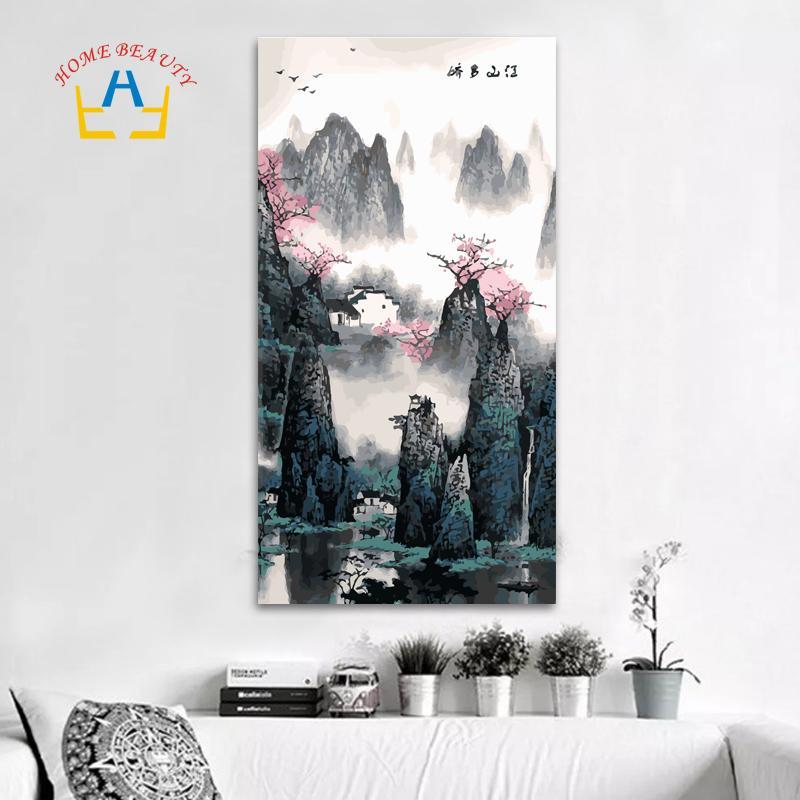 40 * 80 cm grande pintura a óleo por números coloração desenho decoração da parede quadro pintura por número pintura Chinesa artesanato clássico DY09 Y18102209