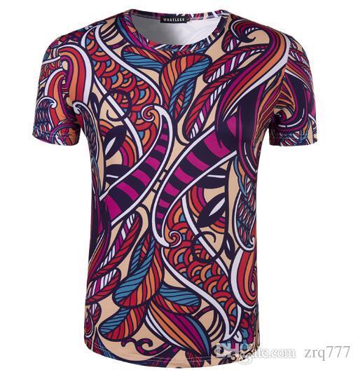 2018 Nouveau produit hommes nom de famille vent motif floral vent chinois fleur de cajou imprimé 3D manches courtes col rond T-shirt.