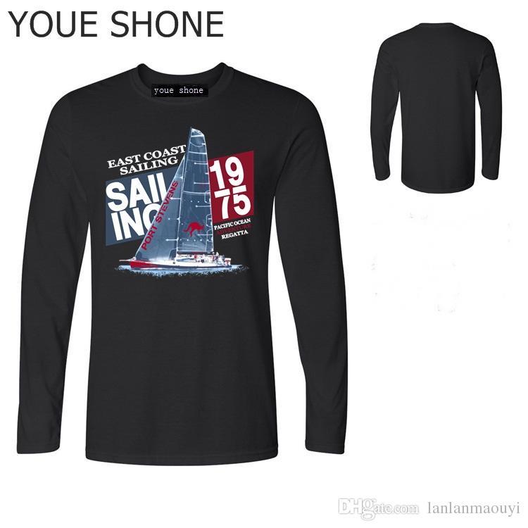 Новый дизайн Парус лодка футболка лето прохладный мужчины футболка мужская хлопок топ tee смешной стиль Марка футболки с длинным рукавом
