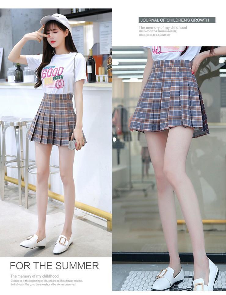 Fashion Summer Skirt Women 2018 Ete Skirts Casaul Pleated Ladies Skirts High Waist Mini Skirt Female Skirt Plaid Saia Jupe Femme (9)