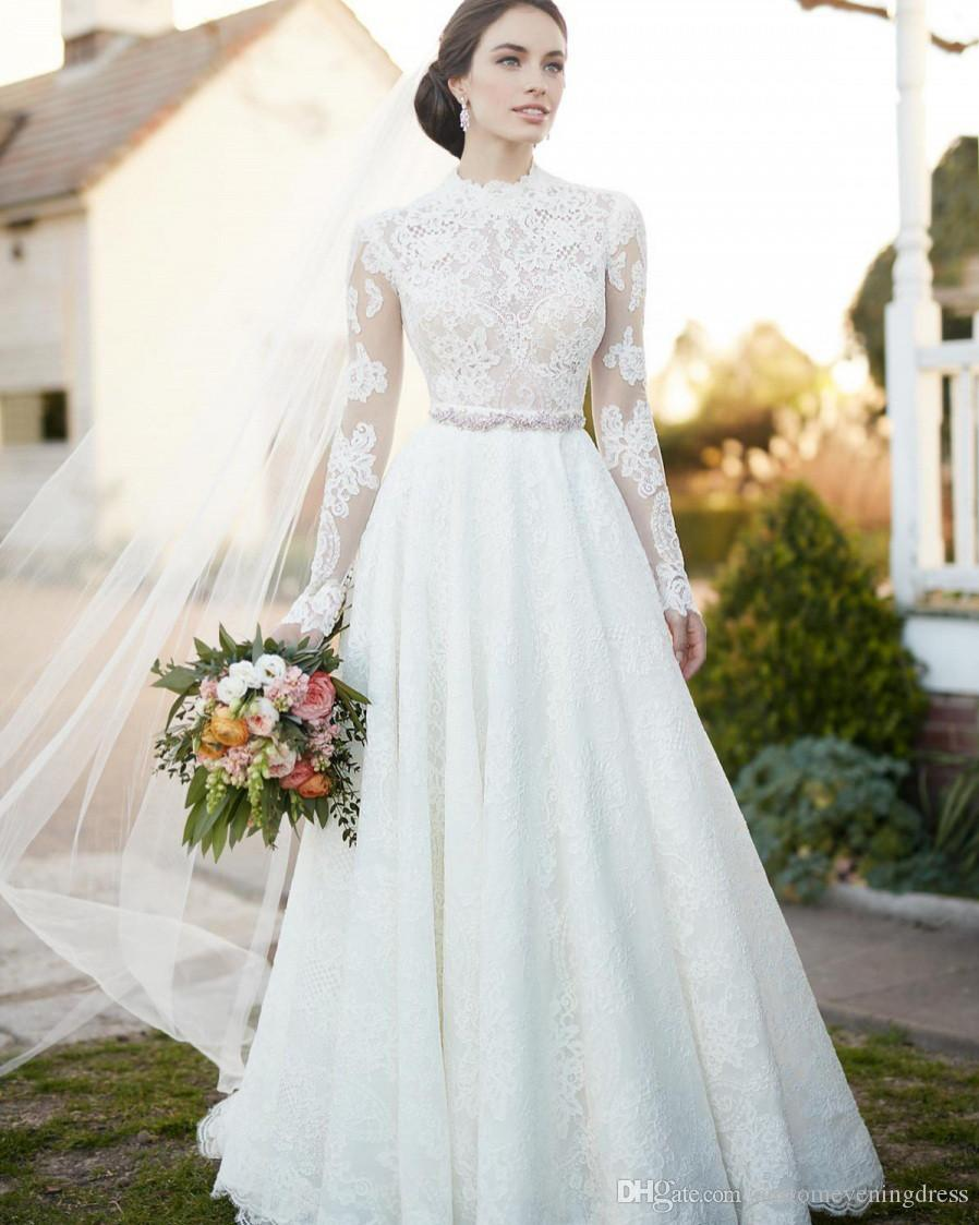 Fashion Elegant Boho Wedding Dress 2018 High Neck Long Sleeves Appliques Lace Bridal Marry Dress Wedding Guest Gown Vestido Wedding Gown Simple