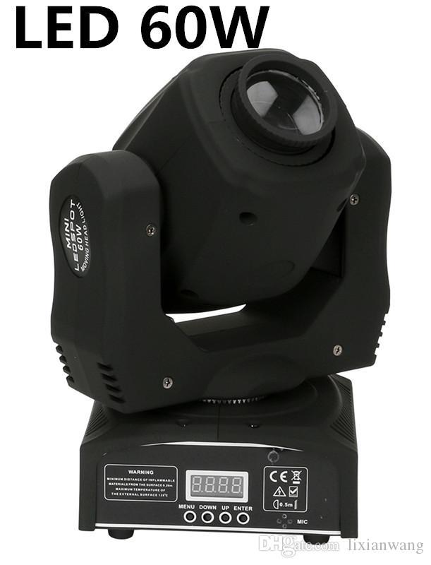 10PCS / الكثير أدى 60W مصغرة أدى بقعة ضوء متحرك رئيس البسيطة نقل رئيس ضوء 60W DMX دي جي 8 GOBOS تأثير أضواء المسرح