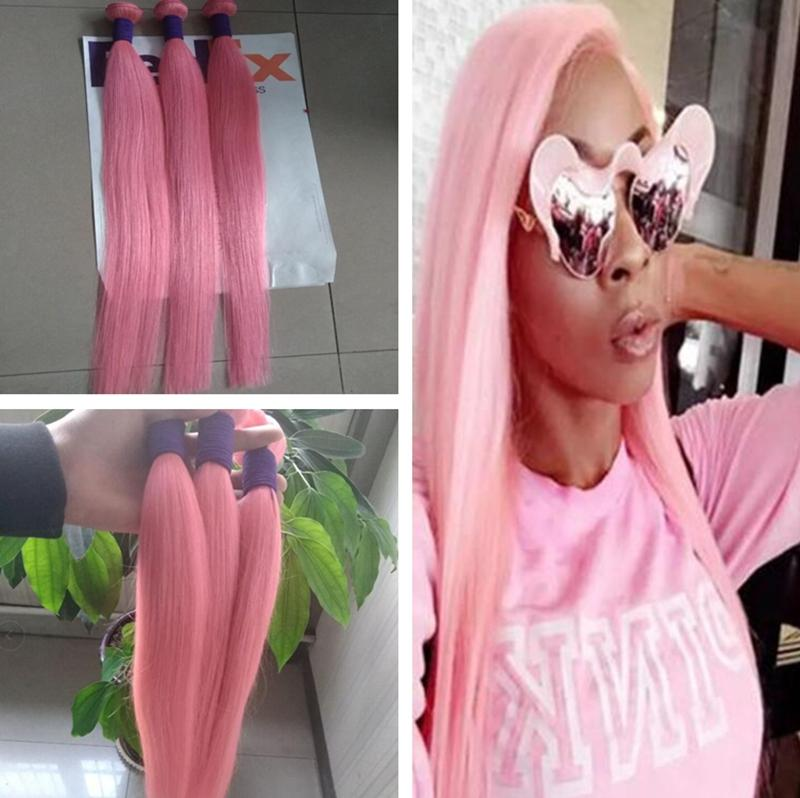 New Sale Hot Pink Colorful Human Hair Weave Extensions 3 Pcs Lot Brazilian Silky Straight Virgin Remy Hair Weft 3 Bundles