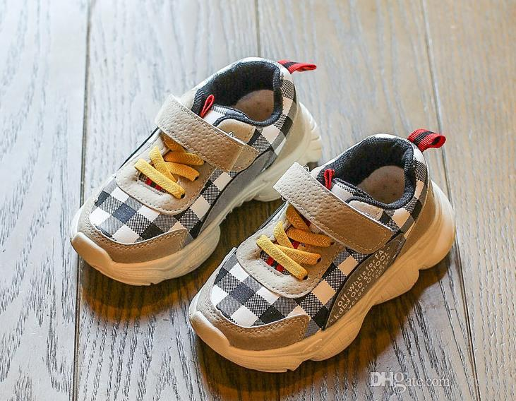 cheap Plaid casual Baby Shoes Spring Autumn Kids Girls Sneaker Sport Boys Girls Running Shoes Korean Children Check Leisure Shoes XXP69