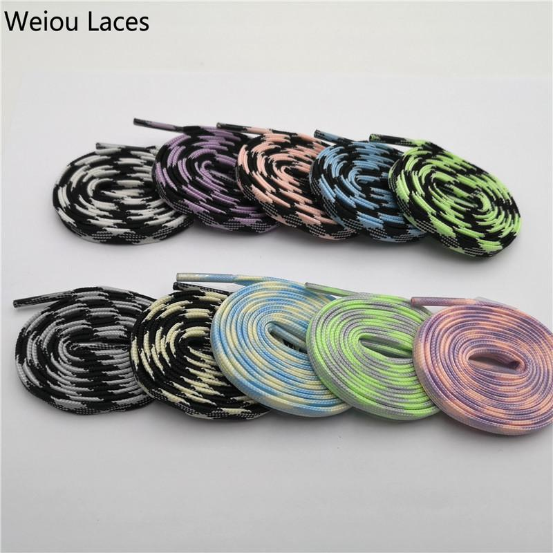 Weiou New Flat Sport Glow In The Dark Shoelaces 7mm Colorful Sneakers Sport Bootlaces GLOWING Night Bootlaces 120cm