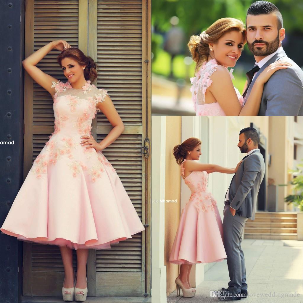 2018 великолепный румяна розовый линия чай длина платья выпускного вечера с ручной работы цветы высокая шея Дубай арабский вечернее платье