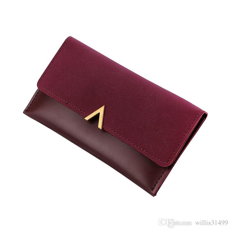 Nuevo Long V Mujeres Bifold billetera de cuero Abrazine alta calidad cerrojo titular de la tarjeta de identificación Billfold embrague monedero Zip bolsillo marca Mcvilla