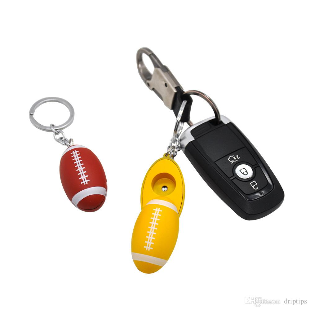 Mini Portable Rugby shape smoking pipe Aluminum Alloy smocking cigarette holder with Key chain Xmas Gifts free DHL