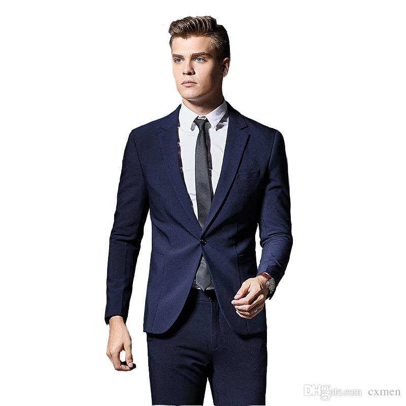 Custom Made One Button Navy Blue Formal Business Meeting Blazer Men Groom 2 Pieces Brand Mens Suit Jacket Slim Fit Clothing Wedding Dress