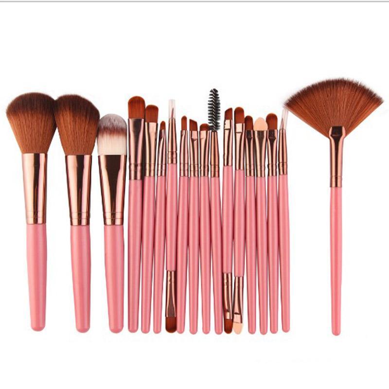 18Pcs Makeup Brushes Set Kit Power Foundation Blush Eye Shadow Eyelash Eyeliner Lip Blending Fan Cosmetic Tools