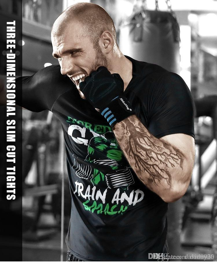 Running shirt sportswear Man tight training printed t-shirts absorb sweat fast drying with short sleeves