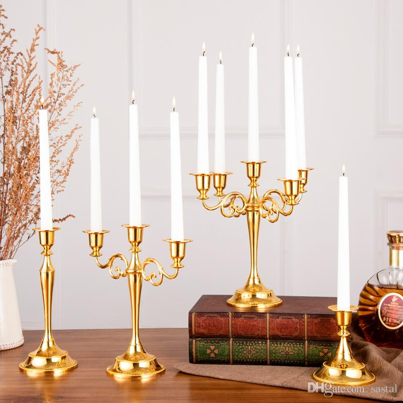 Hot Metal Candle Holders 5-arms/3-arms Candle Stand Wedding Decoration Candelabra Centerpiece Candlestick Decor Crafts 10pcs