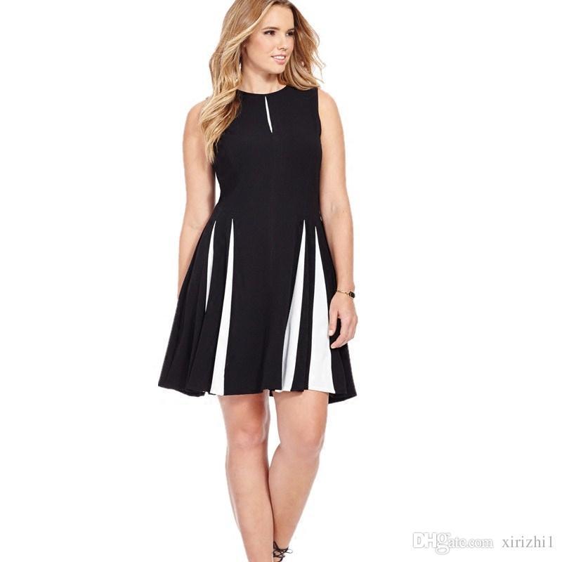 Black And White Sleeveless Brief Summer Dress For Fat Woman Big Ass Elegant  Plus Size Designer One Piece Dress Bridesmaids Dress Plus Size Prom Dress  ...