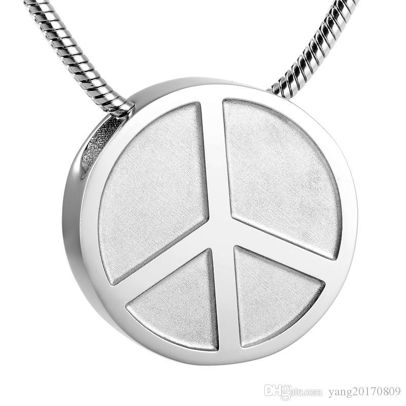Forma IJD9255 símbolo de paz del embutido redondas de acero inoxidable Memorial Hold joyería pendiente de cenizas del recuerdo de la cremación las cenizas