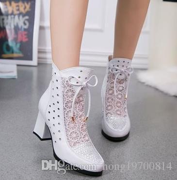 Calzado Stivali Genuino Stivaletti di Pelle Stivali En Pizzo Stivali Estivi Zapatos Chaussures Femme Piazza Tacco Alto Scarpe