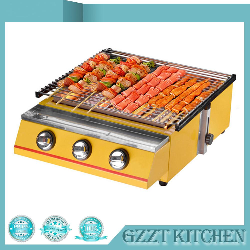 Yellow Large-size 3 Burner BBQ Gas Grill Glass Shield or Steel Shield Household CommercialGrill Size 450*425mm