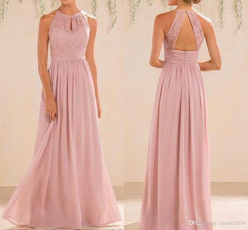 Großhandel 19 Blush Pink Bridesmaid Kleider Lang Land Art Halter Ansatz  Spitze Chiffon In Voller Länge A Line Formal Wedding Guest Partei Kleid