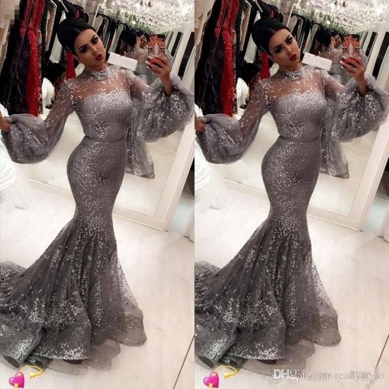 Fashion Sequins Mermaid Prom Dresses Sexy Hihg Neck Trumpet Long Sleeves evening dresses Attractive Stylish evening dresses
