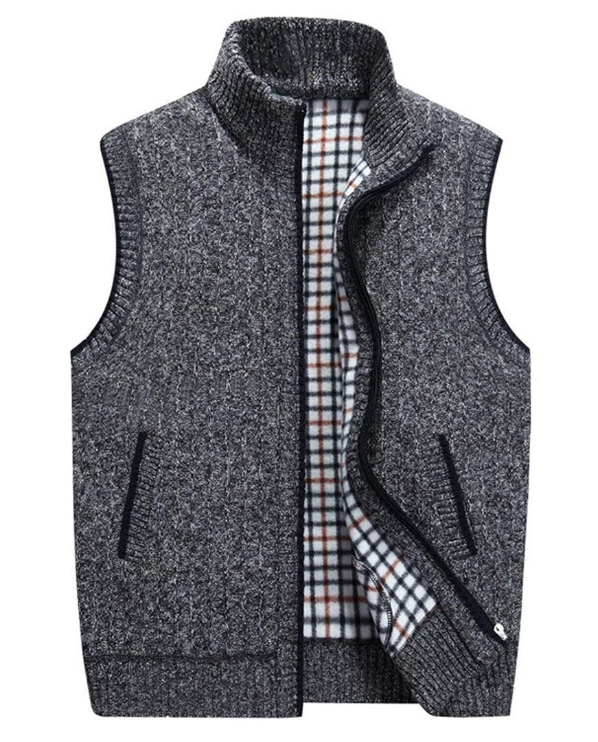 Slim Fit Zip Up suéter de punto Cardigan Chaleco Outwear chaqueta para hombre