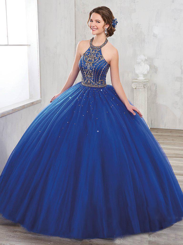 Compre Vestidos De Quinceañera Azules 2020 Halter Con Parte Posterior Del Corsé Con Cordones De La Hinchada De La Falda Del Vestido De Fiesta Vestido