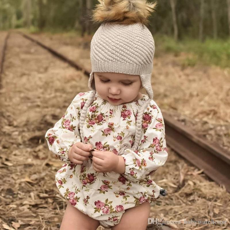 New Infant Baby Clothing Spring Autumn Little Girls Clothes Floral Long Sleeve Romper Baby Girls Jumpsuit Playsuit One-pieces Clothes Outfit