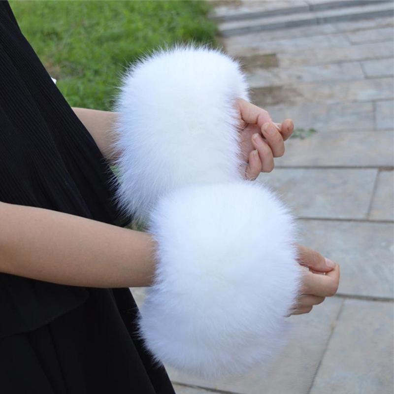 Genuine Arm Fur Lady chaud Bracelet réel Wristband Gant fourrure de raton laveur Manchettes L # 151