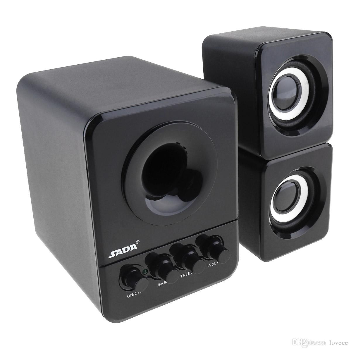 SADA D-203 Wired Mini Portable Bass Cannon 3W PC Combination Speaker with 3.5mm Audio Plug and USB 2.1 Wired PMP_70Q