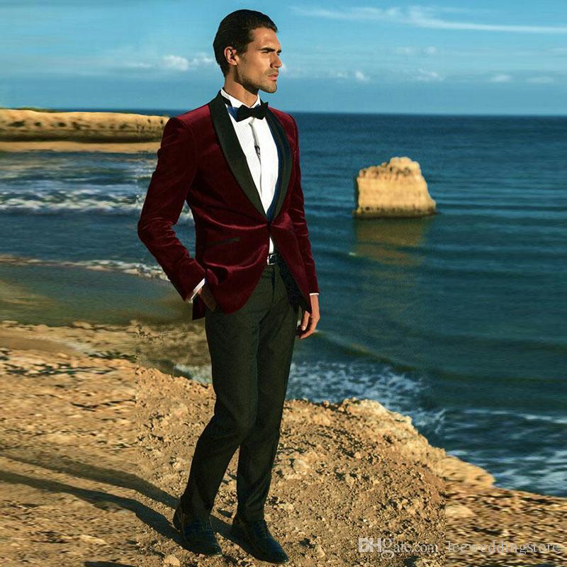 2018 Men Suits Burgundy Red Velvet Wedding Suits For Man Blazer Bridegroom Groom Custom Made Slim Fit Formal Tuxedos Best Man Prom 2Pieces