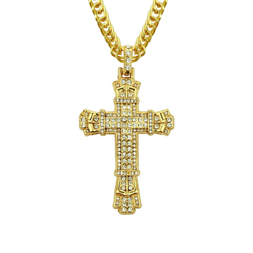 gold silver plated Men hip hop iced out cross pendant necklaces with 76cm link chain necklace bling bling jewelry fast free shipping