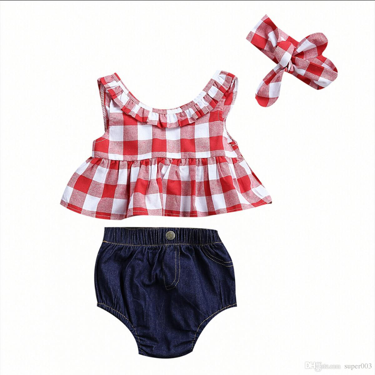 3шт малыша детская одежда 2018 летний красный плед с юбкой футболка топы + джинсовые шорты шаровары оголовье наряд детская одежда комплект